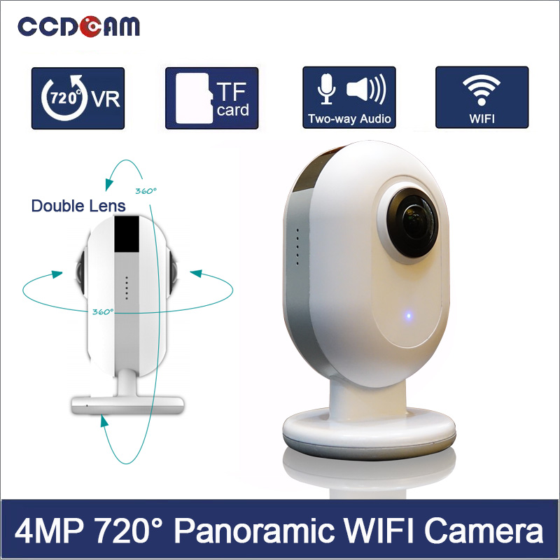 CCDCAM free shipping 4MP 720 Degree panorama Camera Wifi 8P Fisheye Ultra Dual Lens 220D Angle Panoramic VR Video Cam. free shipping 2017 newest mini wifi sports camera r360 220degree eyefish lens