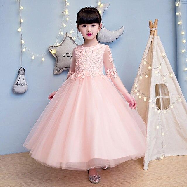 Elegan Pink Tulle Bunga Gadis Gaun Setengah Lengan Gaun Pesta Anak