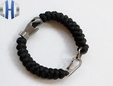 EDC Hand-woven Titanium Shark Shape + Titanium Keychain Umbrella Bracelet chic shark teeth shape embellished bracelet for women