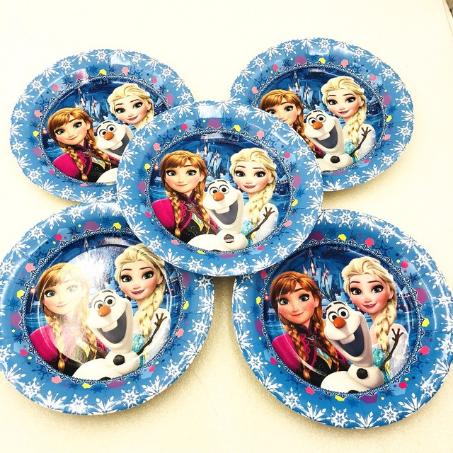 6pcsset 9 inch disney frozen paper plate frozen elsaanna party supplies disney princess christmas