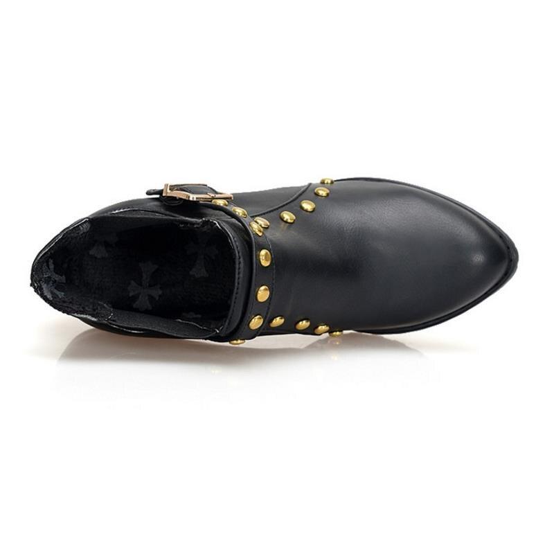 AicciAizzi Size 31-43 Sexy Women Ankle High Heel Boots Rivet Short Boots Warm Shoes Women Plush Fur Winter Botas Women Footwears