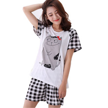 Women Pajamas Sets Summer Short Sleeve Thin Cotton Cartoon Print Pyjamas Cute Young Girl Sleepwear Girl pijamas Mujer Nightgown
