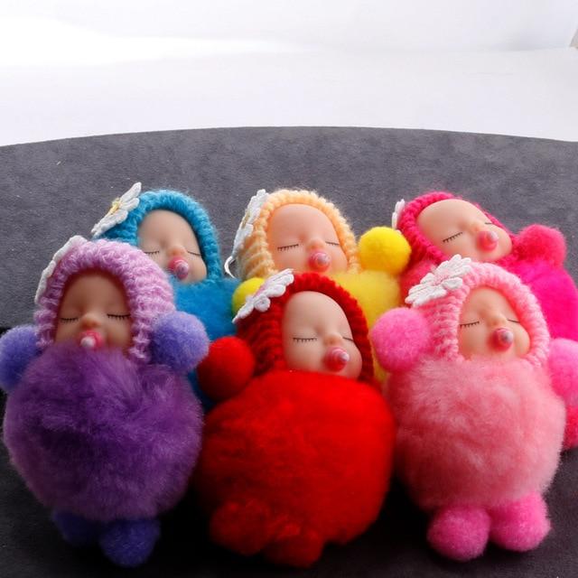 Mamilo Bebê Dormindo Boneca Chaveiro Flor Pompom Bola de Pêlo de Coelho Fofo porte clef Chaveiro Saco do Anel Chave Do Carro Da Corrente Chave