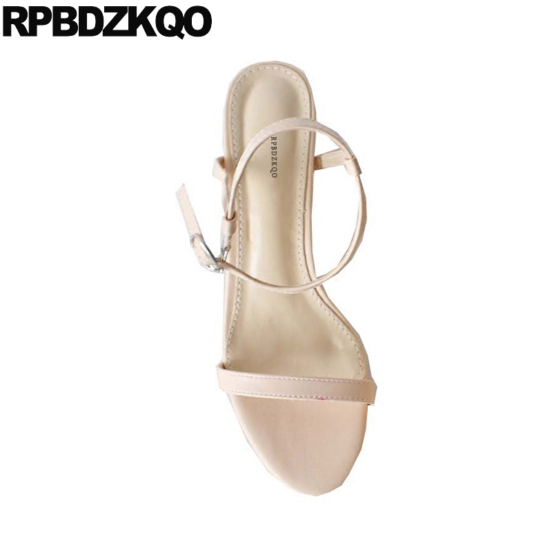 Korean High Heels Chunky Thick Nude Ankle Strap Ladies Women Sandals 2018 Summer Shoes Yellow Square Slingback Open Toe Pumps designer summer two strap sandals purple block high heels suede korean square genuine leather women pumps thick shoes slingback