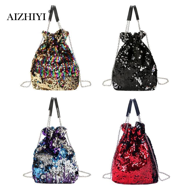 Women Mini Sequin Bucket Shoulder Bag Chain Evening Party Messenger Bag for Girls  Crossbody Bag Female Handbag bolsa feminina-in Top-Handle Bags from ... 40124894c73d