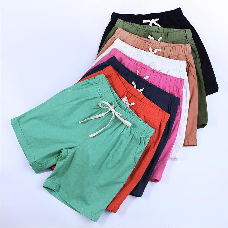New Summer Drawstring Loose Solid Shorts Female Plus Size M-5XL 6XL 7XL Mid Casual Shorts Autumn Women Comfortable Shorts Black