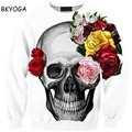 Fashion 3D Hoodies for men women Colorful Flower print sweats casual sweatshirt Skull Painted street wear Drop Ship