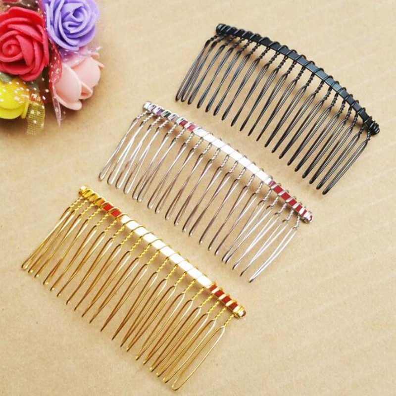 2pcs/lot Hair Accessories for Women Girls 20 Teeth Inserted Comb DIY Hair Combs Supplies Steel Plate Iron Silver Tool   Headwear