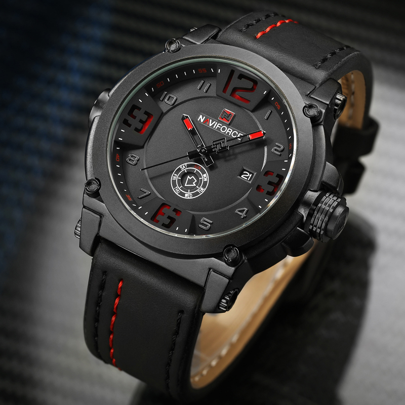 NAVIFORCE Military Sport Mens Watches Top Brand Luxury Men Waterproof Leather Quartz Watch Man Fashion Wristwatch Male Clock+box top luxury brand mens fashion leather strap multifunction watches men quartz watch waterproof wristwatch male table clock reloj