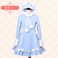 Сладкая Лолита платье милый медведь ухо пушистый бант с длинными рукавами Женское зимнее пальто теплое пальто для женские костюмы для косп
