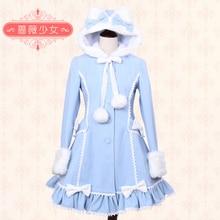 Sweet Lolita Dress Cute Bear Ear Furry Bow Long-sleeves lady Winter Coat Warm Coat for women Cosplay Costumes XS-XL Custom-made