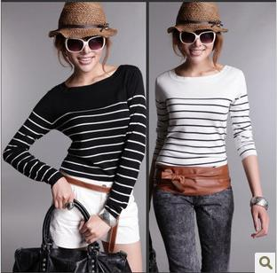 Navy And White Striped Sweater Womens Baggage Clothing