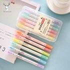 6pcs/set Japanese Stationery Zebra Mild Liner Double Headed Fluorescent Pen 6 Colors Mark Pen Cute Stationery School Supplies