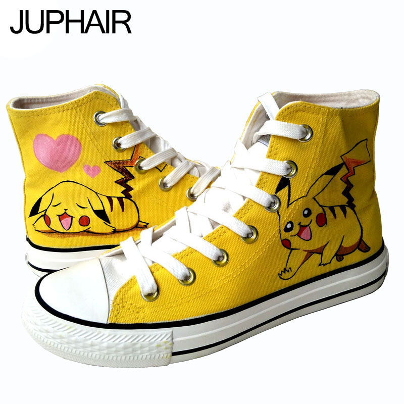 ФОТО JUP Shoes Men Males's Boy's Anime Pikachu High Style Canvas hand-painted Shoes Espadrilles Rubber Boots Zapatos Mujer Mens Sales