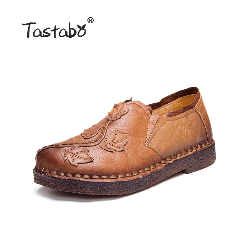 Tastabo Retro Autumn Shoe Women Fashion Handmade Leave Comfortable Women Folk Flat Shoe Femme Genuine Leather