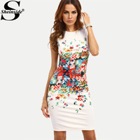 Sheinside Abstract Flower Print Sleeveless Fitted Dress 2017 Round Neck Knee Length Elegant Pencil Dress Women