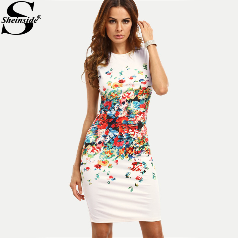 24cea785fe Sheinside Abstract Flower Print Sleeveless Fitted Dress Round Neck Knee  Length Elegant Pencil Dress Women Casual Dress