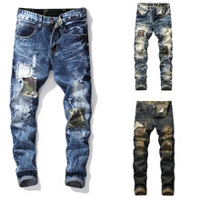 Famous High Street Fashion Men Jeans Destroyed Ripped Motor Biker Homme New Pants