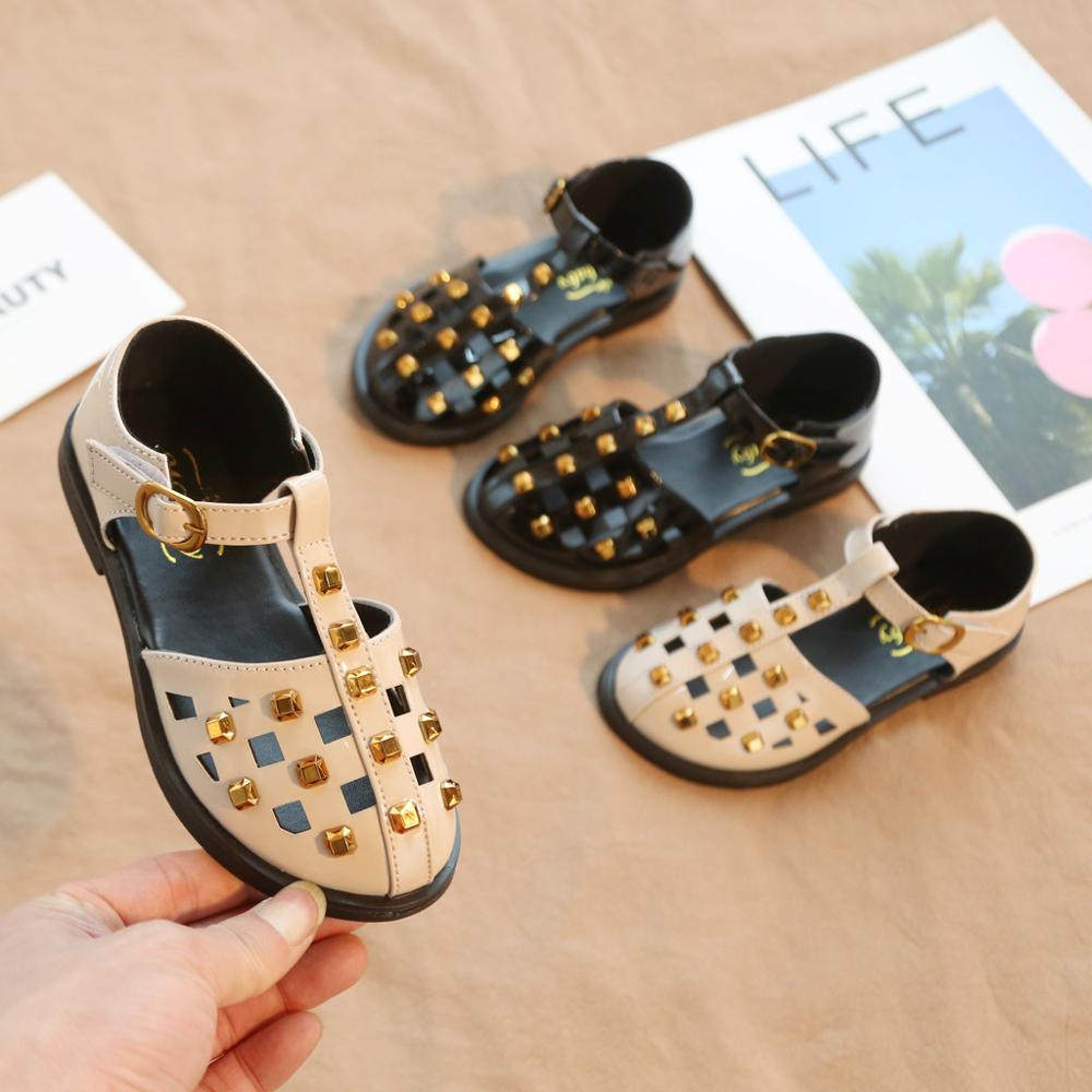 New Korean Girls Shoes Baotou Half Sandals Summer Kids Princess Soft Bottom Rivet Fashion Girl Hollow Bebek Ayakkabi A1