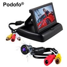 Podofo Водонепроницаемый автомобилей заднего вида Камера Обратный Парковка Системы + 4.3 «HD складной автомобиль Мониторы Авто-камеры автомобиля стиль