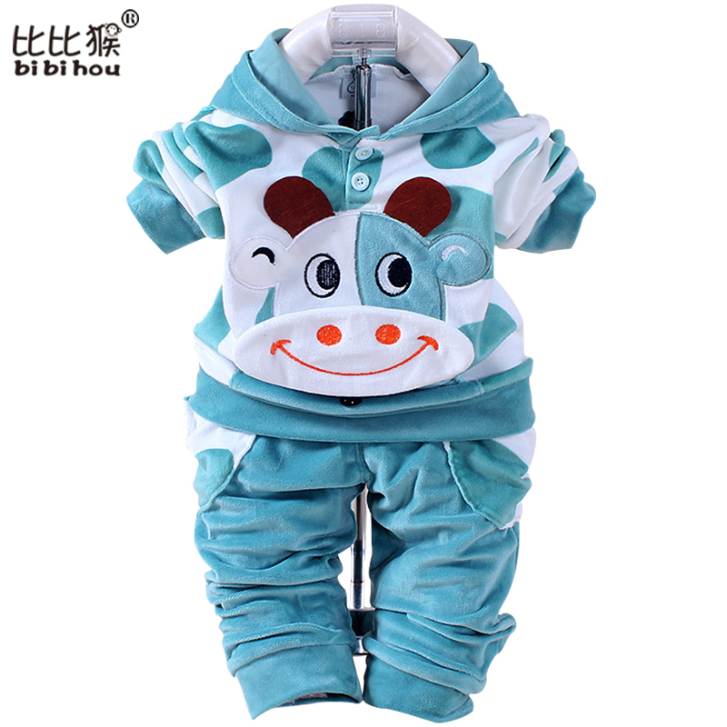 Baby boys girls velvet children clothing set boy Cartoon hoodies pants suits autumn newborn kids wear christmas costume Infantil