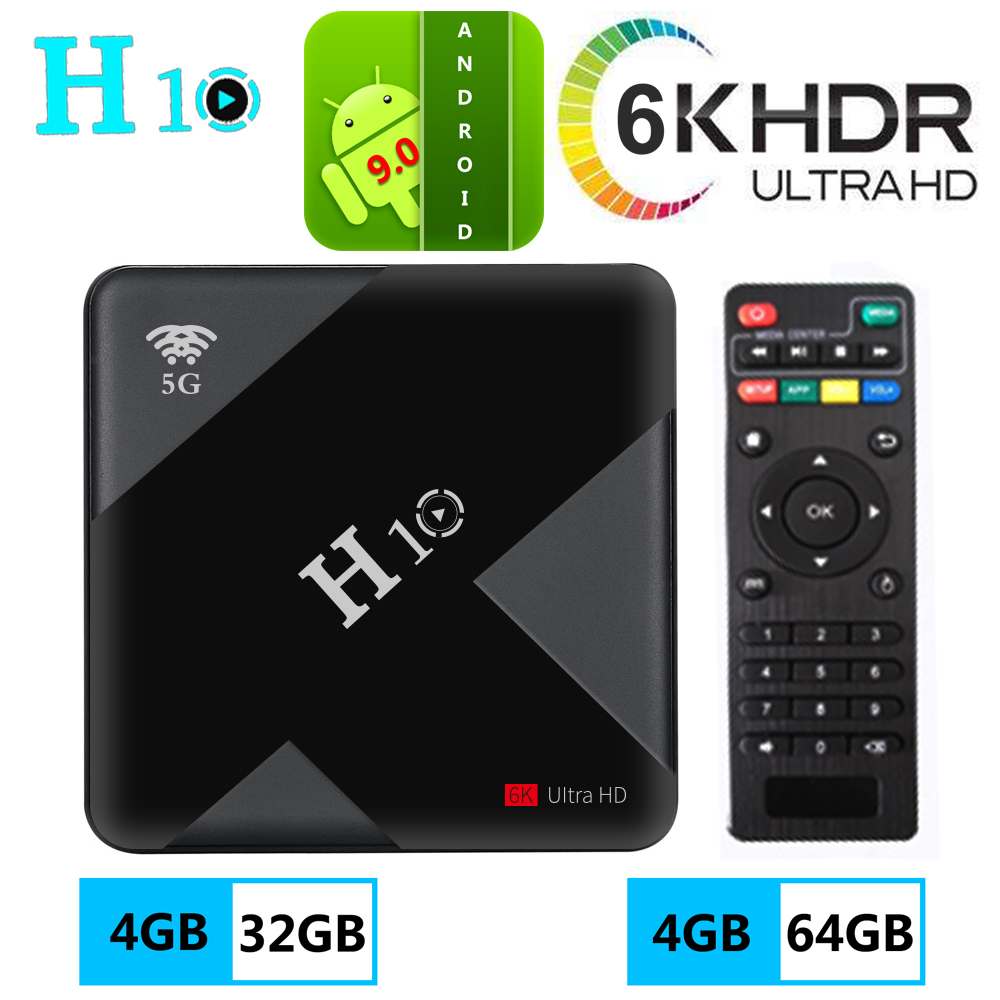[July 2019 nouveau] 6K ultra HD Android 9.0 Tv Box allwinner chip H10 5g wifi 4 + 32 4 + 64 USB3.0 h.265 décodeur