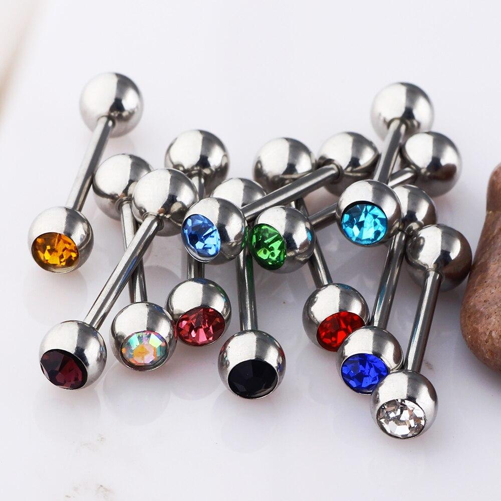 50//100 Surgical Steel Small Gem Crystal Screw Nose Stud Ring Nose Hoop Piercing