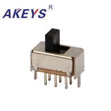 20PCS SS-22E01 2P2T Double pole double throw 2 position slide switch DIP 6 pin verticle type with 2 fixed pin slide 6 cm double fader potentiometer b10k