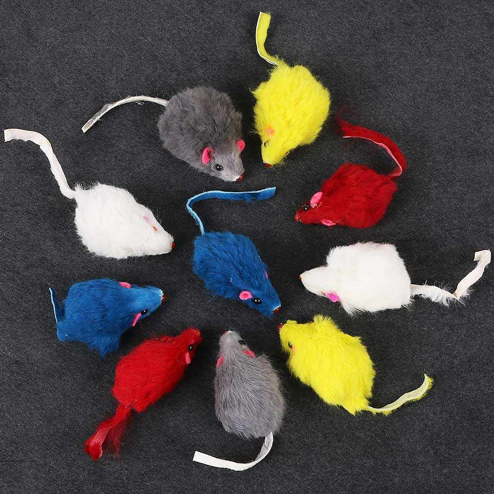 10Pcs/Set New Mini Funny Rabbit Fur False Mouse Simulation Mice with Squeak Noise Playing Toys For Cats Kitten Pet Supplies