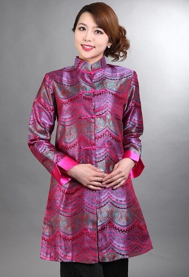 Hot Pink National Chinese Female Silk Satin Coat Spring Autumn Windbreaker Long Style Jacket Size S M L XL XXL XXXL M 26
