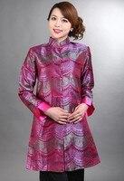 Hot Pink National Chinese Female Silk Satin Coat Spring Autumn Windbreaker Long Style Jacket Size S