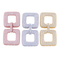 DIY Handmade Pearl Jewellery Fittings European Fashion 2 Square Shape Zirconia Charms Jewelry Connectors For Jewelry
