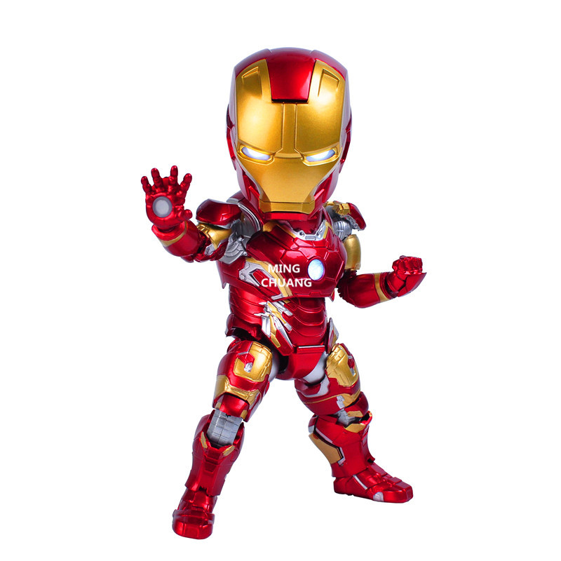 Avengers Infinity War Superher Tony Stark Egg Attack Iron Man Mark 43 MK43 With LED Light PVC Action Figure Model Toy Boxed W90 the avengers egg attack iron man patriot a i m ver super hero pvc ironman action figure collection model toy gift 18cm