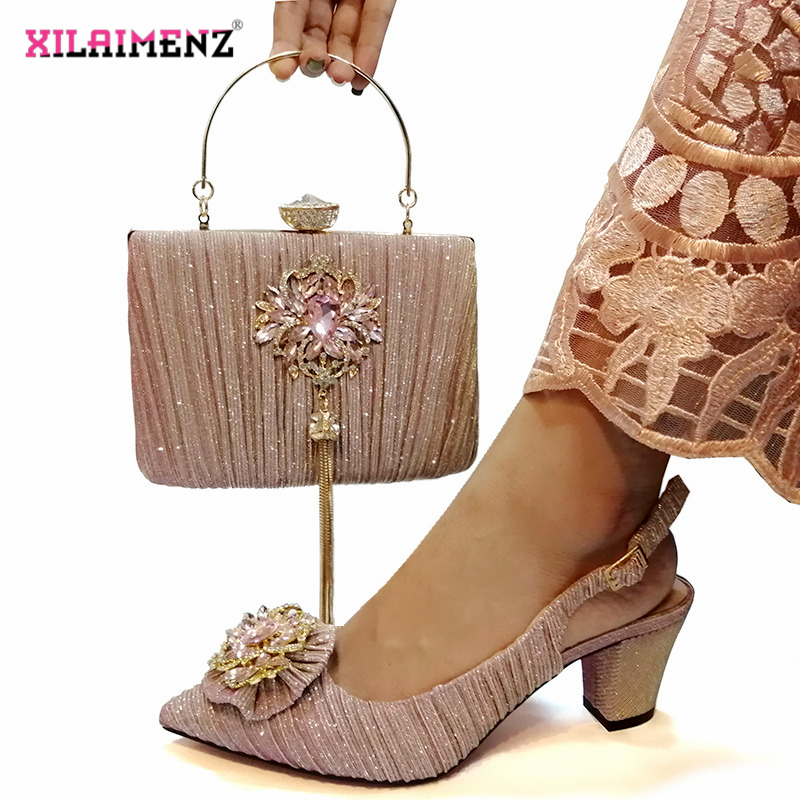 Pink Color Nigerian Sandals with Matching Bag for Woman Pointed  Toe Shoes and Purse Set High Quality with Crystal for PartyWomens  Pumps