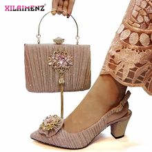 Pink Color Nigerian Sandals with Matching Bag for Woman Pointed Toe Shoes and Purse Set High Quality with Crystal for Party