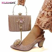 Różowy kolor nigerii sandały z pasująca torba dla kobiet szpiczasty buty z palcami i zestaw torebek wysokiej jakości z kryształem dla Party