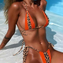 2019 Hot Women Lace Up Patchwork Thong Transparent Micro Bikini Leopard Print Halter Triangle Swimwear