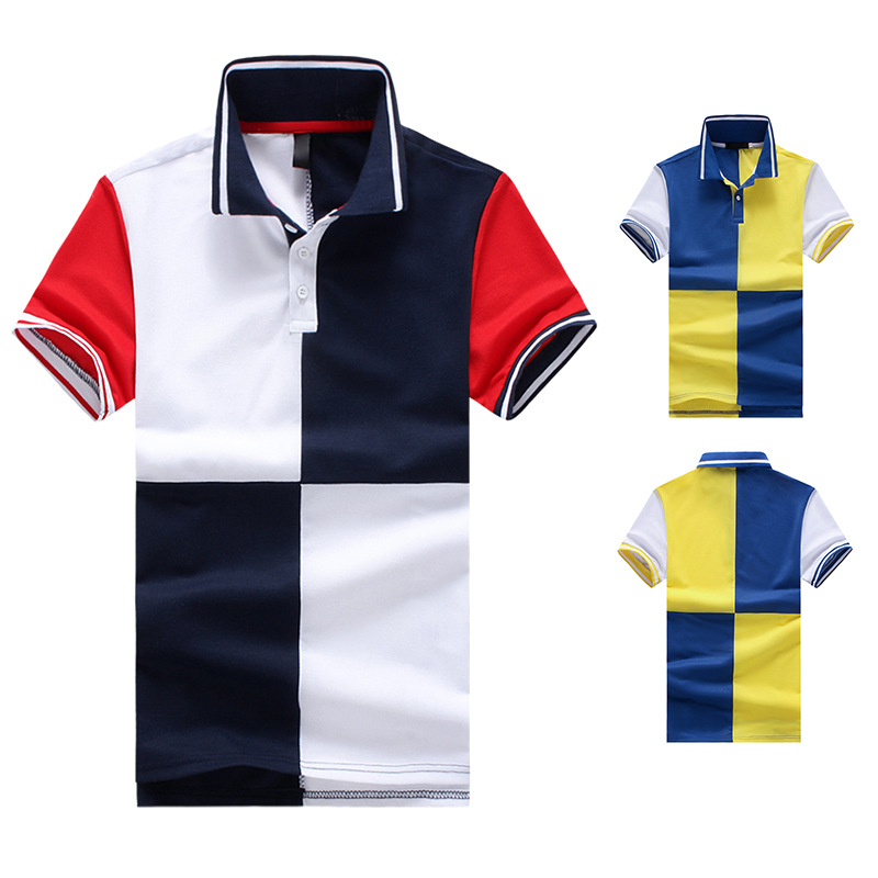 Male Cotton Short Sleeve POLO Shirts Patchwork 2019 New Sping Mens Patch Polos  Contrast Color Breathable Hommes Summer Polos