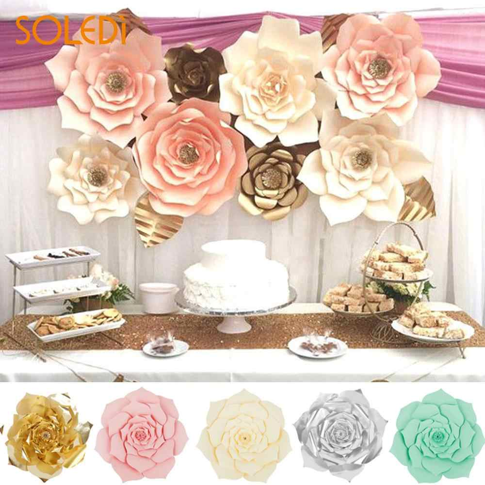 Backdrop Paper Flower Beautiful 3 Size Diy Paper Rose Wedding Artificial Flower Wall Hanging Decor Celebration Colorful Flower