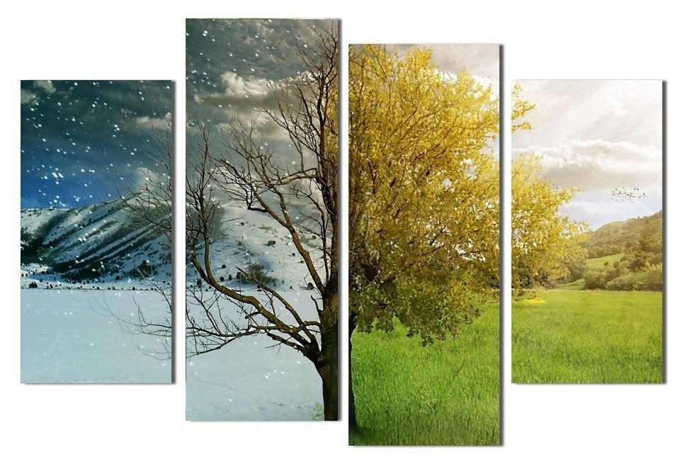 4 Panel de Árbol Abstracto Cuadros en Invierno Primavera Toile ...