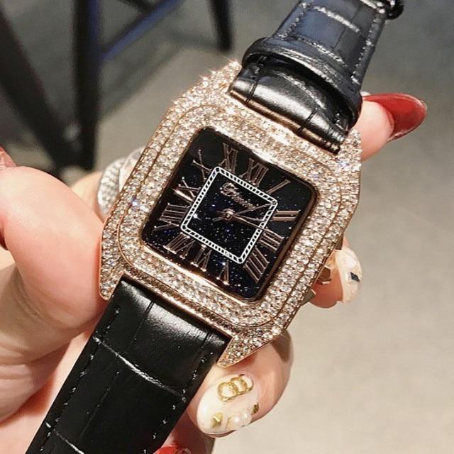 Top Luxury Full Diamond Square Bracelet Watches Women Fashion Leather Strap Rhin