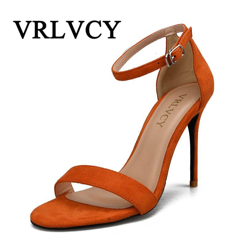 אופנה נשים סנדלי נשים עקבים גבוהים רצועת קרסול סקסית זמש פגיון גברות כיסוי אבזם בוהן פתוח נעלי מפלגה
