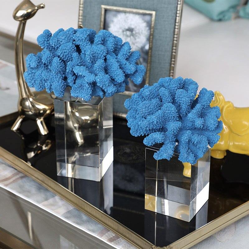Desktop Decoration Mediterranean Simple Modern Blue Coral With Crystal Glass Base Ornaments Plant Craft Art Decoration