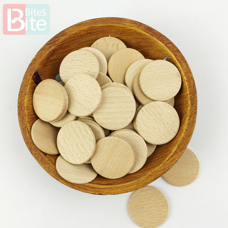 Bite Bites 30pc 37mm Unfinished Wood Discs Coin Circle Beech Round Smooth Wooden Food Grade Can Custom Wood Blanks Baby Teether