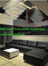Квадратной Формы Большой Современный Фойе Кристалл Подвесной Светильник Освещение Используется в Hotel Villa Торговый центр (3 видов размера) + бесплатная доставка