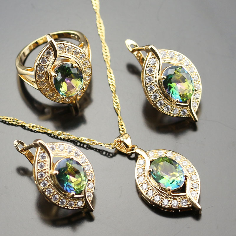 Gleaming Blue Rainbow Colourful White Zircon Jewelry Set For Women Gold Color Rings/Earrings/Necklace/Pendant