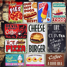 Italian Pizza Vintage Metal Sign Kitchen Cafe Decorative Plates Mexican Food Pie Stickers Shop Sign Wall Metal Poster Decor MN74