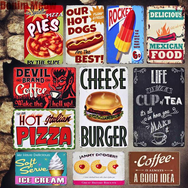 Italien Pizza Vintage métal signe cuisine café assiettes décoratives mexicain nourriture tarte autocollants Ketchup mur métal affiche décor MN74