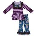 Torta de mostarda remake outono inverno bebê meninas boutique roupas violeta stripe bib floral top plissado calças crianças 2 pcs conjunto de roupas F121
