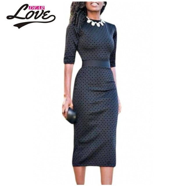 2017 vestidos de invierno avellana diamond print negro media manga midi dress vestidos formales de oficina para las mujeres trabajan desgaste lc61355